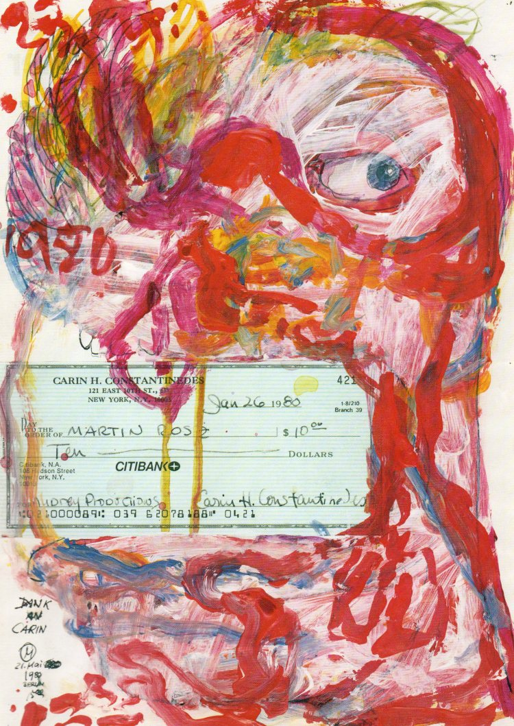 Martin Rosz Thank you Carin oil on paper 1980 Petersen Galerie Berlin November 1984 exhibition